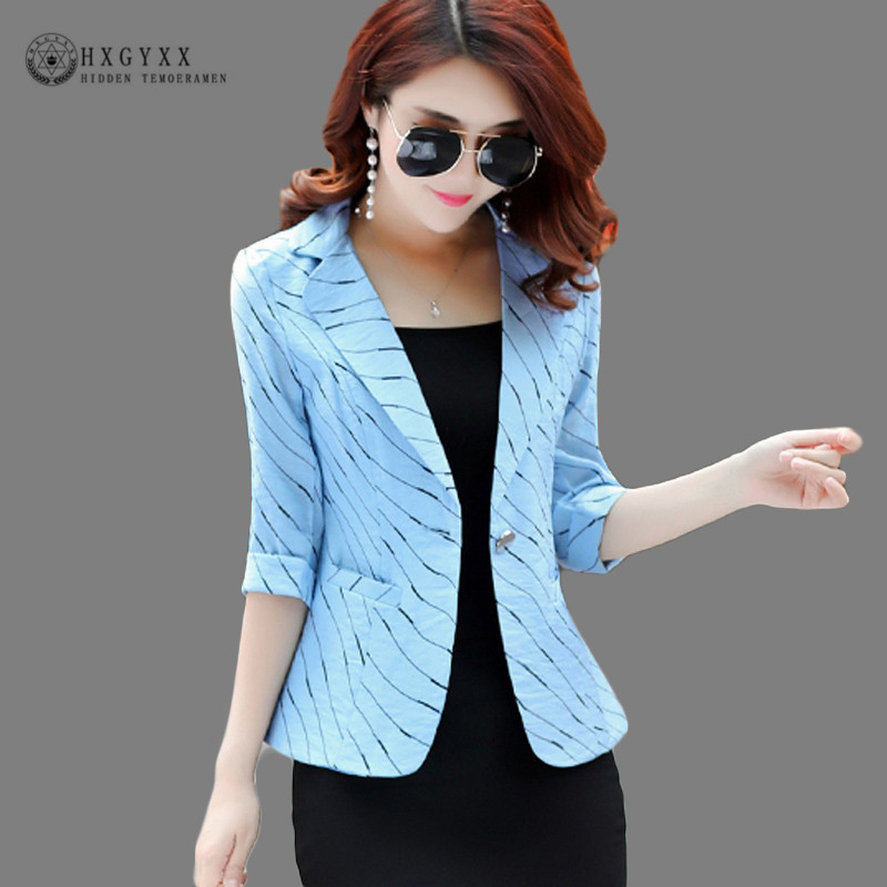 Summer Stripe Suit Jacket Women Blazer Feminino Fashion Notched Pockets Single Button Slim OL Ladies Blazer Plus Size 2019 B095