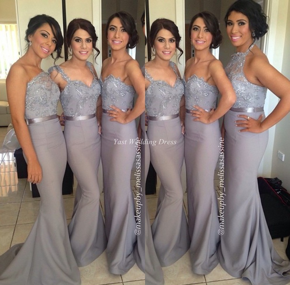 Aliexpress buy grey bridesmaid dresses special one shoulder aliexpress buy grey bridesmaid dresses special one shoulder shiny appliques sash dress high quality elegant mermaid satin bridesmaid gown from ombrellifo Choice Image