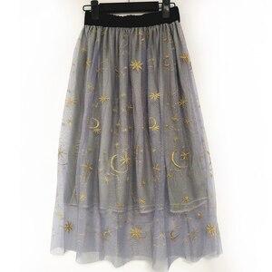 Image 3 - Flectit Gold Moon Star Embroidered Tulle Skirt Vintage Semi Sheer Fabric High Waist Pleated Midi Skirt For Women Ladies