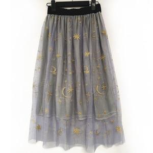Image 3 - Flectit falda de tul bordada con estrellas para mujer, falda de tul Vintage semitransparente, plisada, de cintura alta