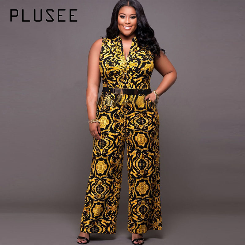Plusee Jumpsuit Plus Size 4XL 5XL Women 2017 Golden Slim Wide Legs Geometric Color Block Button Pocket Print Plus Size Jumpsuit 2