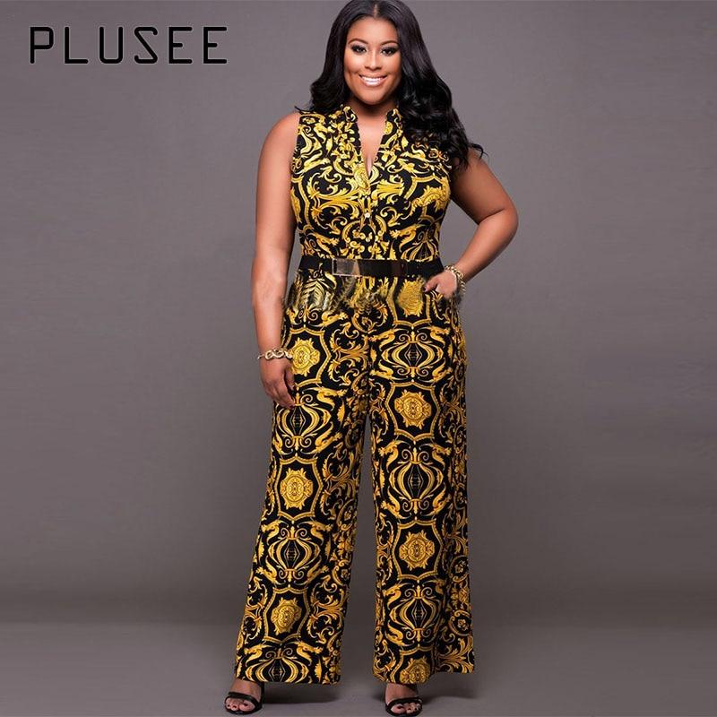 Plusee Jumpsuit Plus Size 4XL 5XL Women 2017 Golden Slim Wide Legs Geometric Color Block Button Pocket Print Plus Size Jumpsuit 2