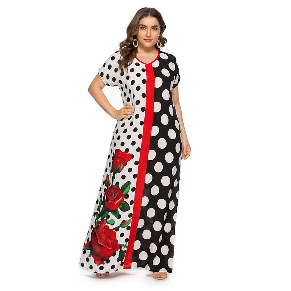 2019 Summer Fashion Polka Floral Printed Women Maxi Dress Plus Size Short Sleeve Muslim Abaya Arabic Islamic Dubai Robe VKDR1555-in Islamic Clothing from Novelty & Special Use on Aliexpress.com | Alibaba Group