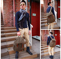 Backpack Straw String  Travel Bag Washed Canvas Bag with Leather Rucksack Popular Backpack