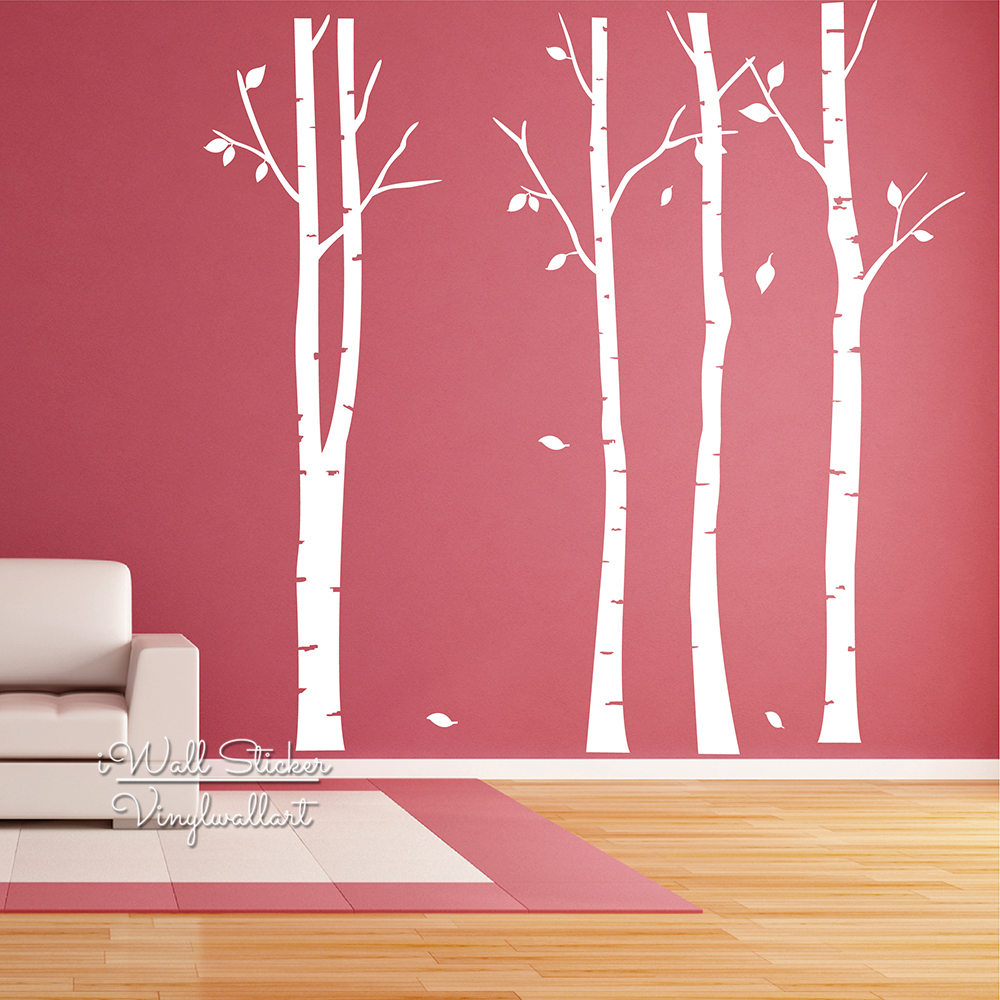 Birch tree wall art sticker modern large tree wall decal for Diy family tree wall mural