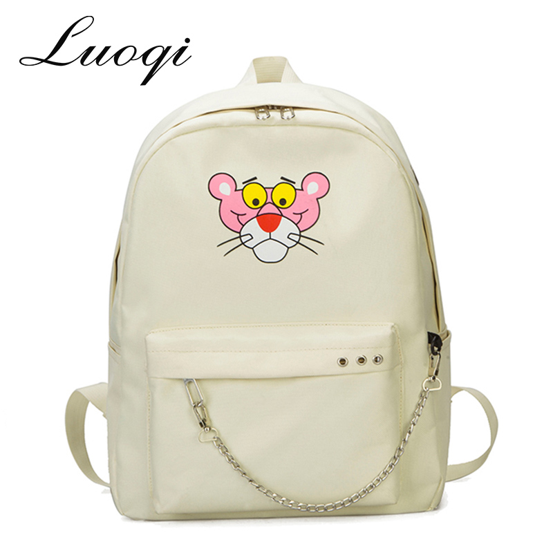863134e70d Nylon Women Backpack Pink Panther School Bag for Teenager Fashion Chains Backpacks  Casual Waterproof Travel Bags