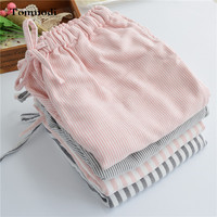Women's Sleep pants Spring and autumn 100% cotton pajama pants stripe loose trousers thickening double layer of cotton yarn Slee