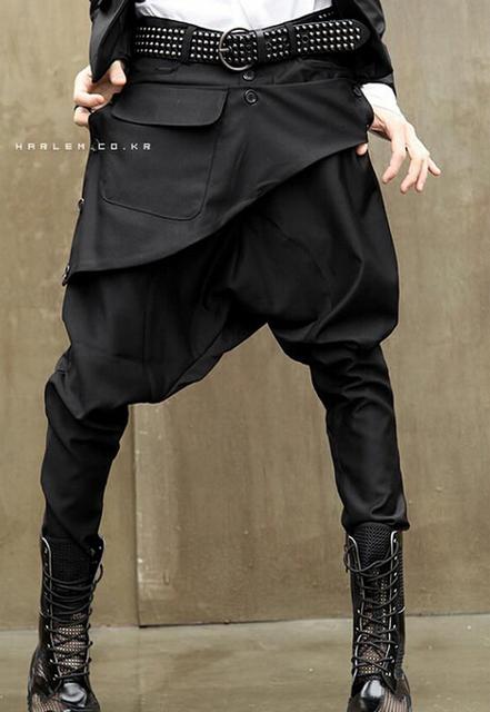 Verão Personalidade preto Falsos dois culottes juventude dos homens calças dos homens calças dos homens quente 1 calças largas calças casuais carga