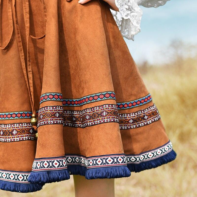 pourpre Pour Haute Les Et Suède Livraison Printemps Courte Boshow Broderie Gratuite Marron Nationale Jupe Mode Taille 2017 Automne Tendance Mini Femmes r0Z4RUq0w