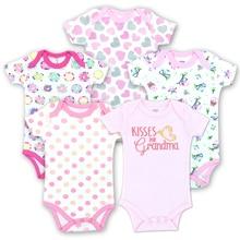 5 PCS/lot Child Bodysuits Cotton Child Ladies Boy Clothes Quick Sleeves O-Neck New child Child Garments Summer time Child Dresse