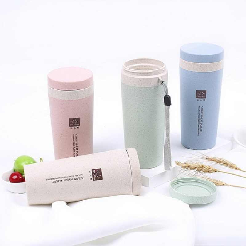 tounw Portable Thermos Cup Wheat Straw Double Layer Insulated Cup Vacuum  Flask Insulated Thermo Cup Sports Water Bottle Thermos