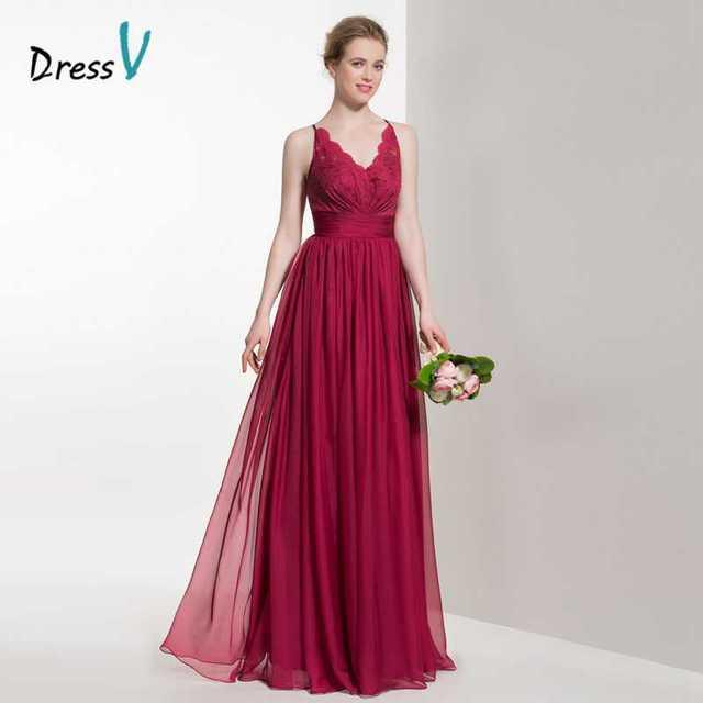 Dressv burgundy v neck long bridesmaid dress a line lace pleats zipper up  wedding party bridesmaid fee00a03d6e0