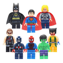 8pcs/lot Super Heroes Avengers Marvel Captain American Spider Man Iron Man Block Mini Action Figures Toys For Legoings Boys Gift