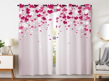 Blackout Curtains 2 Panels Grommet for Kids Bedroom Red Heart Shape White Flower Falling