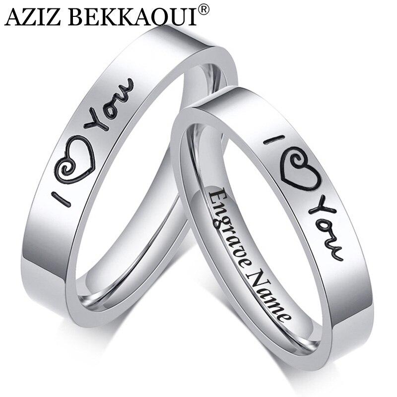 AZIZ BEKKAOUI DIY I LOVE YOU Couple Rings Engrave Name Stainless Steel Wedding Rings