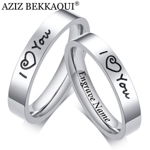 AZIZ BEKKAOUI DIY I LOVE YOU Couple Rings Engrave Name Stainless Steel Wedding Rings for Lover Anniversary Jewelry Dropshipping