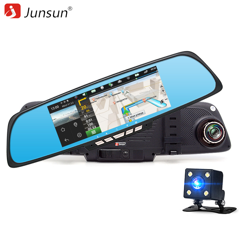 Junsun 6.86 Car Camera DVR Mirror Android GPS Navigation Dual Lens Video Recorder Full HD 1080P Rearview Mirror Camera Dash cam new 5 android touch car dvr gps navigation rearview mirror car camera dual lens wifi dash cam full hd 1080p video recorder