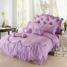 luxury Purple Jacquard Silk Princess bedding set 4pc silk Lace Ruffles duvet cover bedspread bedskirt bedclothes king queen size