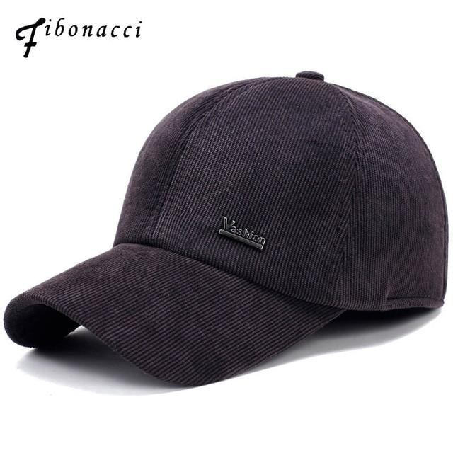 Gorra de béisbol Fibonacci de invierno para hombre gorra de pana cálida  rayada con orejeras etiqueta 1b79d3560cf