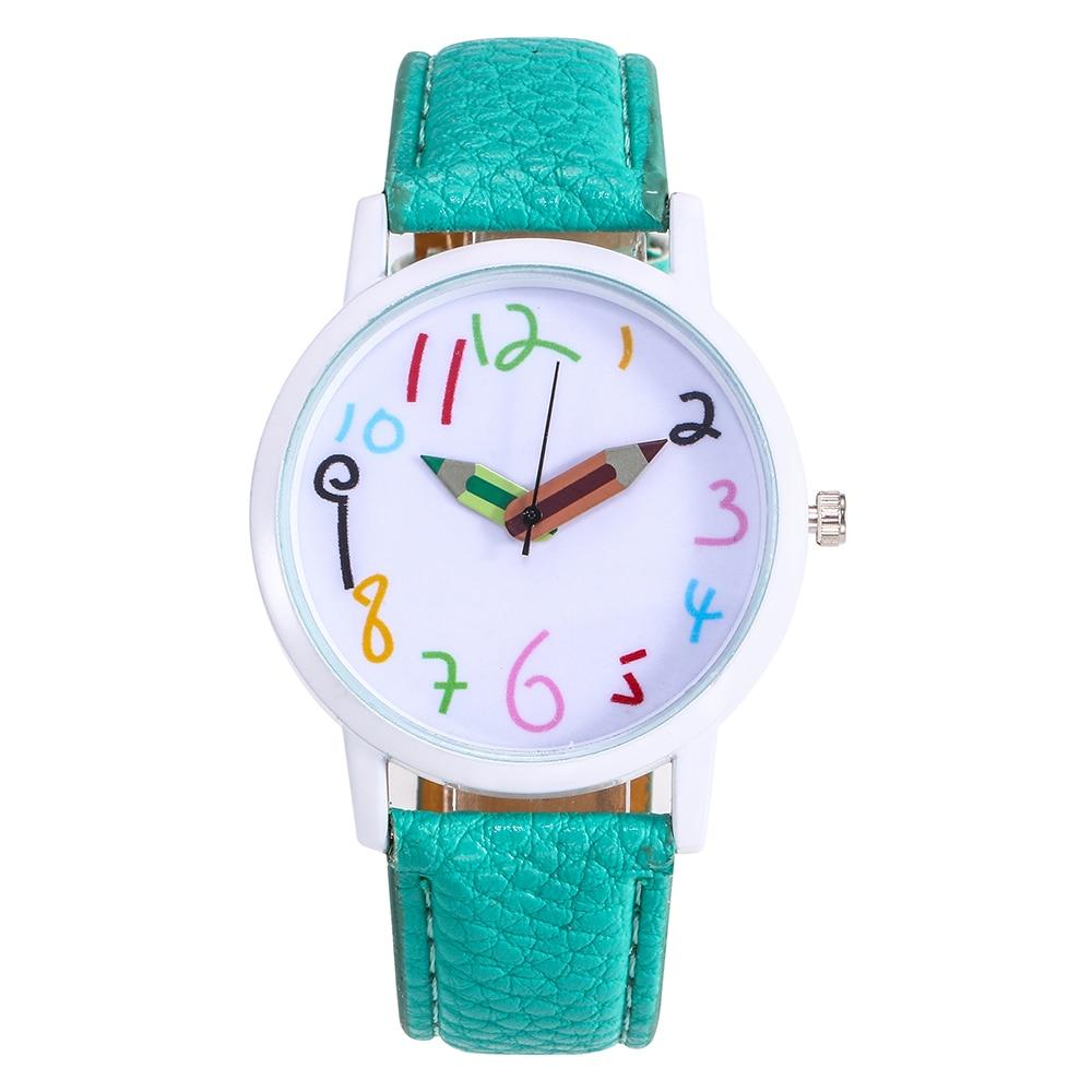 New Leather Strap Watch Children Watch Geneva Pencil Pointer Clock Wristwatches For Kids Gifts