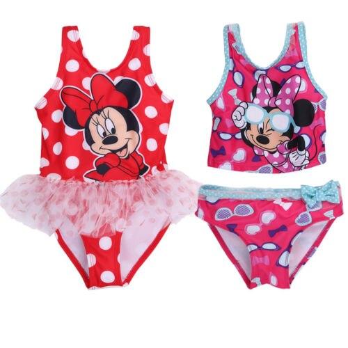 Summer Baby Girls Kids Cartoon Minnie Mickey Mouse Bikini Swimwear Bathing Suits Swimsuit SHAP
