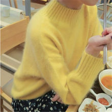 HAMALIEL New Korean Women Knitted Sweater Autumn Winter Yellow Mink Cashmere Soft Warm Pullovers Casual Loose Stand Collar Tops(China)