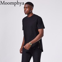 Moomphya 2017 New Streetwear T Shirt Men 100 Cotton Extended Short Sleeve Hipster Longline Curve Hem