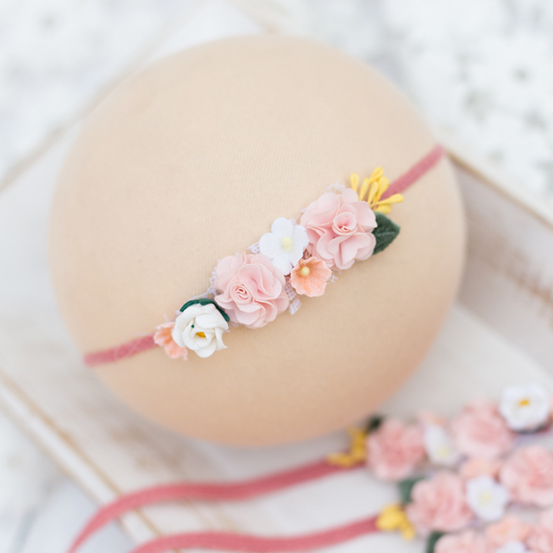 Baby Headband With Flower Girl Photo Shoot Newborn Photography Props For Studio Girl Princess Headwear Flower Hair Accessories in Hair Accessories from Mother Kids