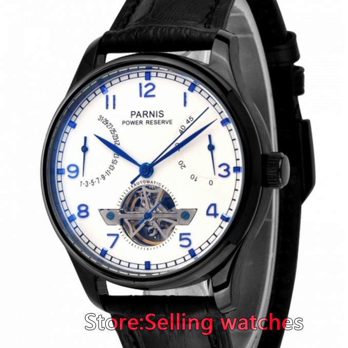 43mm Parnis Automatic Black PVD Case Power Reserve Men Watch цена