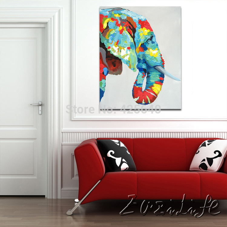 Online Shop Oil Painting On Canvas Wall Pictures Paintings For Living Room  Wall Art Canvas Pop Art Elephant Modern Abstract Hand Painted 2 |  Aliexpress ... Part 70