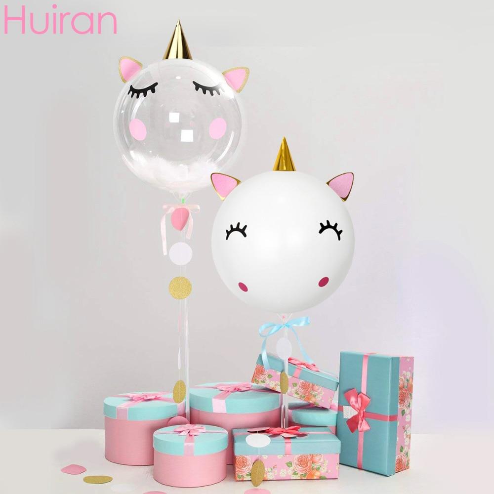 Huiran unicórnio branco balão adesivo transparente balões unicórnio festa de aniversário decoração do chá de fraldas suprimentos balões