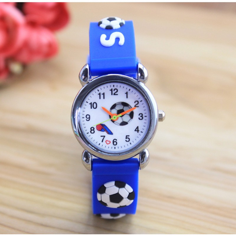 New 3D Cartoon fashion silicone football kids Watch Children Girls Boys Students Quartz Wristwatches relogio kol saati clock(China)