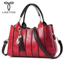 LIKETHIS New Woman Handbags Fashion Messenger Shoulder Top-HandleBag Leather Vintage Handbag Casual Tote  Ladies Large Bolsos