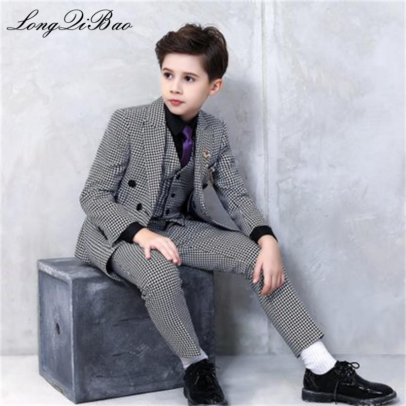 High quality 2019 new classic houndstooth boys and girls show catwalk Christmas suit flower girl suit piano costume