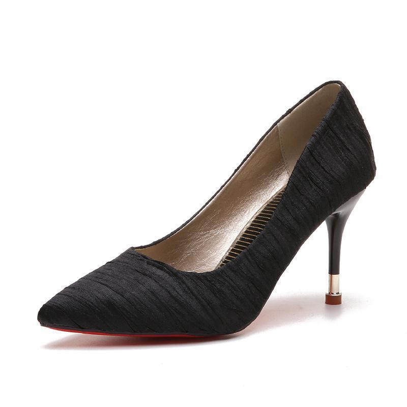 Con Una La rosado Moda De Cómodo Fina Punta Zapatos Nuevo Negro Tacón El Todo Femenina Alto Y gris Estilo fósforo fpw8q0