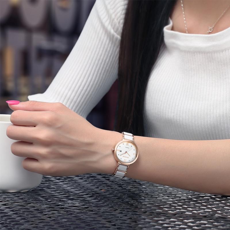 Бренд BUREI, женские часы, водонепроницаемые, модный керамический браслет, кварцевые наручные часы, женские, черные, золотые, белые, Relogio Feminino - 3