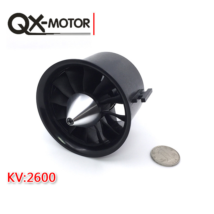 купить QX 70mm 12 Blades EDF Ducted Fan 4S Motor QF2827 2600KV Brushless Motor for Jet AirPlane F22137 по цене 1945.61 рублей