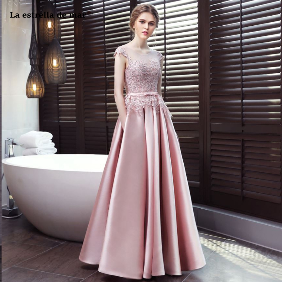 La estrella de mar wedding guest   dress   2019 new Scoop cap sleeve back open a line blush pink   bridesmaid     dress   Floor Length