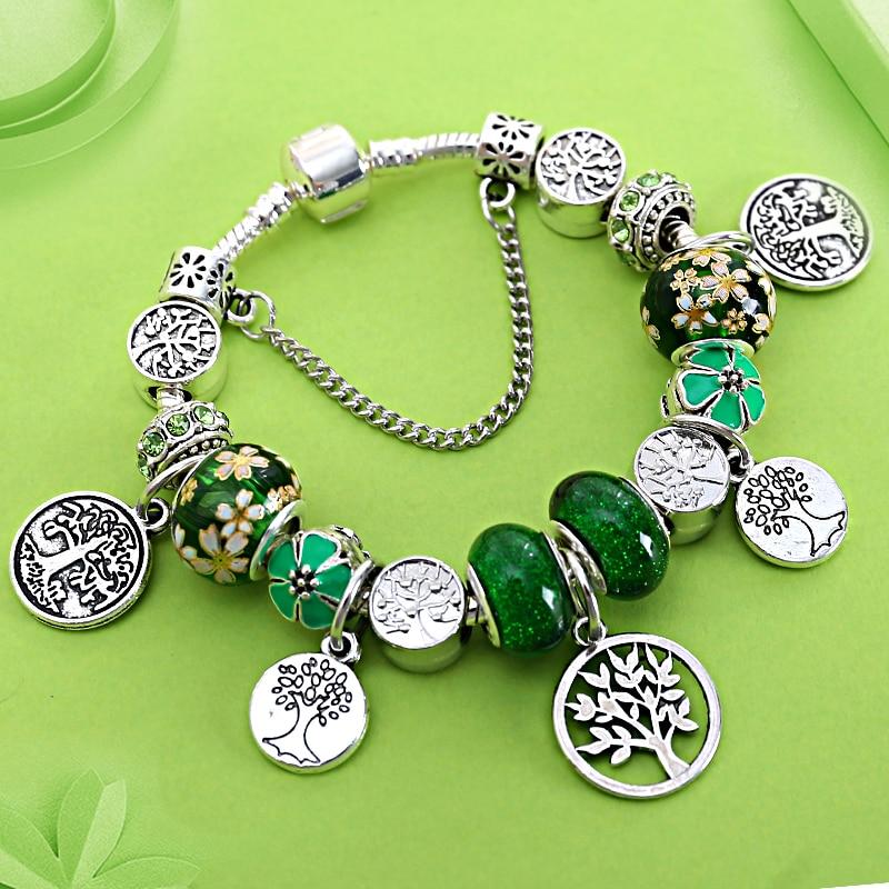 New Arrival Silver Color Tree of Life Charm Pandora Bracelets & Bangles Green Tree Leaf Crystal Bead Bracelet Femme for Women