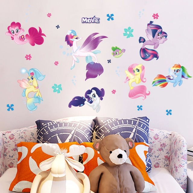 ZOOYOO Cute Pony anime wall decals My Little Horse wall stickers for kids room girls bedroom decoration vinyl cartoon wallpape