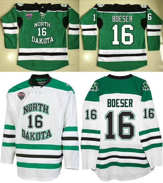 new style 894cc cf615 North Dakota Fighting Sioux #16 Brock Boeser Jersey Green / White Hockey  Jerseys