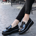 O16U High Quality Women oxfords Flats Platform shoes Patent Leather Tassel Slip-on pointed Creeper black Brogue Loafers Brand