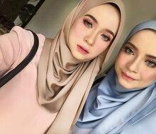 1 pc 새로운 부드러운 반짝 이는 거품 새틴 스카프 shawls 일반 solider 색상 thicken hijab 이슬람 스카프/스카프 선택을위한 19 색상
