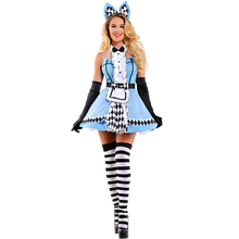 Ladies Fantasia Alice In Wonderland Costume Adult Women Halloween Kigurumi Maid Cosplay Fancy Party Dress Up Outfit hot sale alice in wonderland costume alice dress maid cosplay fantasia carnival halloween costumes for women full set
