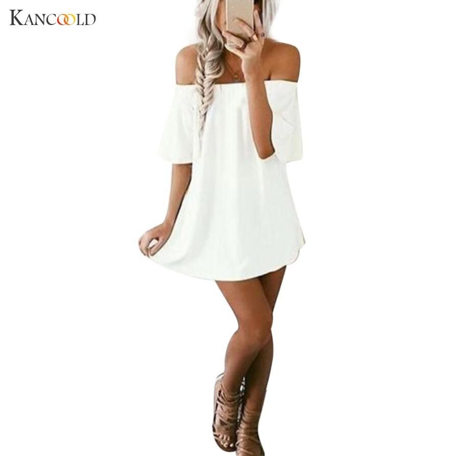 2017 Newly Fashion Dress Summer Fashion Slash Neck Chiffon Ladies Short Sleeve Beach Style Loose Mini Sexy Dress Women Ma083