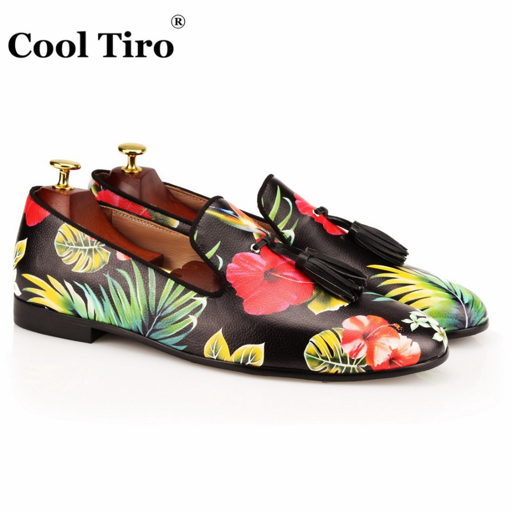 COOL TIRO new Handmade Hawaii landscape Tasseled leather Loafers Espadrilles Slip On Party and Wedding Men Shoes Flats
