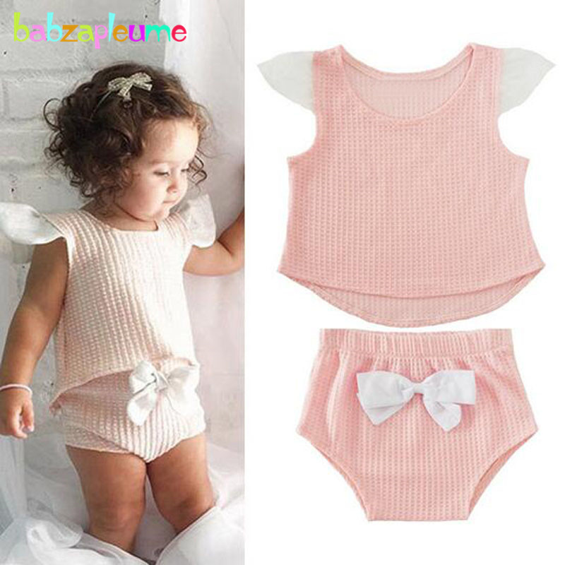 babzapleume summer newborn clothing set cute bow pink t-shirt+shorts 1st birthday outfits infant girls clothes 2pcs suits BC1459