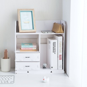 Image 1 - OTHERHOUSE עץ שולחן עבודה מדף אחסון מדף מדפי מקרה תיבת ספר מחזיק עם מגירות איפור מארגן תצוגת עיצוב הבית