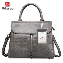 WHORSE LOGO W160756 ! High Quality Women Handbag Genuine Leather Crocodile Shoulder Messenger Bags Real Cowhide Casual Tote