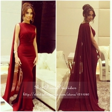 New Arabic Style Evening Dress 2016 Scalloped Neckline Women Long Formal Dresses Floor Length Mermaid Burgundy Evening Gowns
